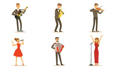 Men and women musicians and singers. Set of vector illustrations.