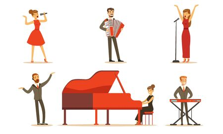 Musicians and singers. Set of vector illustrations. Ilustracja