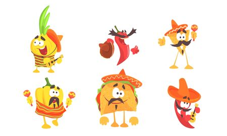 Humanized mexican food. Set of vector illustrations.