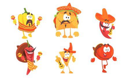 Dibujos animados de comida mexicana en poncho y sombrero. Conjunto de ilustraciones vectoriales.