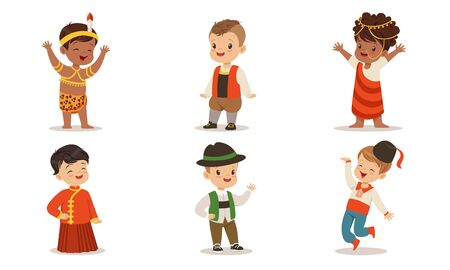 Children in costumes of different nations of the world. Set of vector illustrations. Archivio Fotografico - 134316168