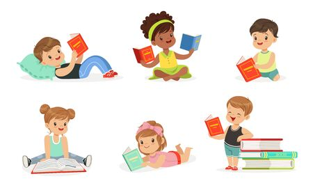 Boys and girls read books. Set of vector illustrations.  イラスト・ベクター素材