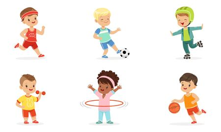 Children in different sports uniforms. Set of vector illustrations.