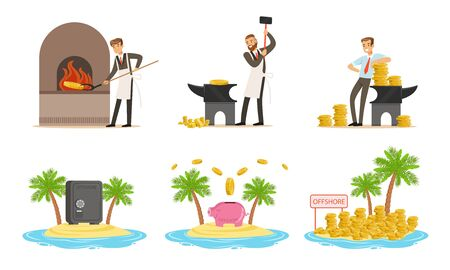 Man forges money. Gold coins on the island. Set of vector illustrations.