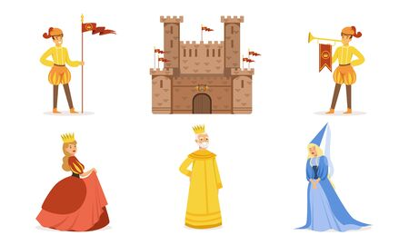 Medieval castle and people in costumes. Set of vector illustrations.