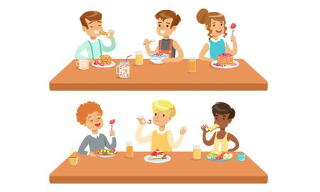 Different Conceptions Of Children Feeding, Healthy Meals And Fastfood Vector Illustration Cartoon Character Ilustração