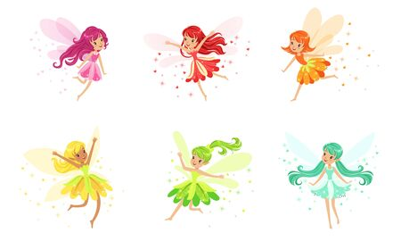 Set Of Flying Fairies Of Many Colors And Poses Vector Illustration Cartoon Character