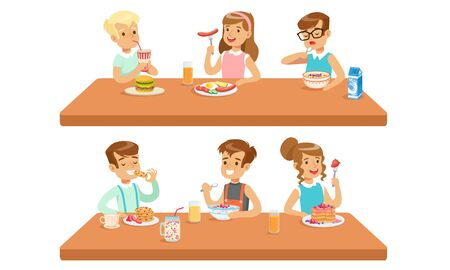 Two Conceptions Of Children Feeding, Healthy Meals And Fastfood Vector Illustration Cartoon Character