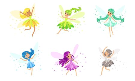 Set Of Flying Pixies Of Many Colors And Poses Vector Illustration Cartoon Character Stock fotó - 134316220