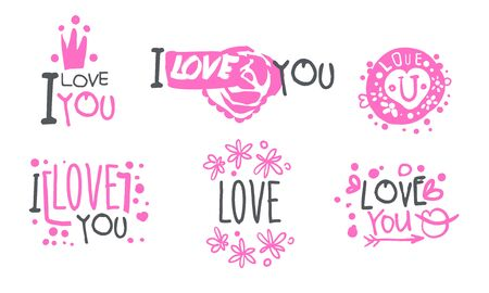 Pink icons with a declaration of love. Set of vector illustrations.  イラスト・ベクター素材