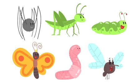 Cute cartoon insects. Set of vector illustrations.