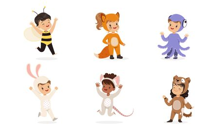 Children in costumes of different animals. Set of vector illustrations.