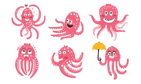 Pink octopuses. Set of vector illustrations.