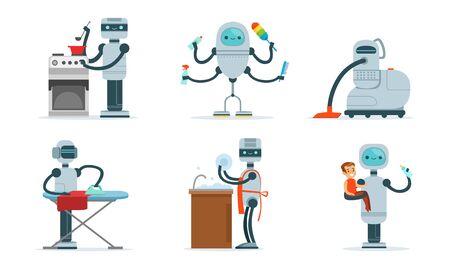 Cartoon robots help around the house. Vector illustration. Ilustrace