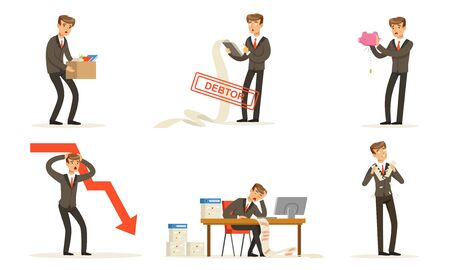 Office Worker Failures And Losses, Bankruptcy Vector Illustration Set Isolated On White Background Ilustracja