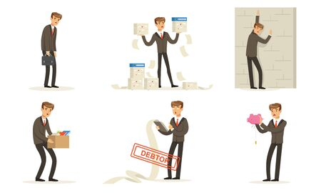 Manager Character Work, Failures And Losses, Debts And Bankruptcy Vector Illustration Set Isolated On White Background