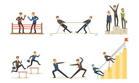 Office Workers Compete With Each Other, Achieve Goals Vector Illustration Set Isolated On White Background Ilustracja