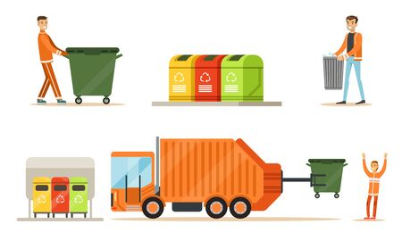 Workers and garbage collection equipment. Set of illustrations.