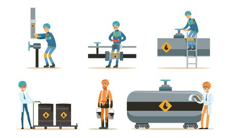 Man near the oil pipeline. Set of illustrations. Illusztráció