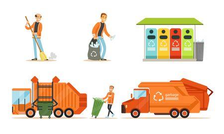 Orange garbage truck and garbage man. Set of illustrations. Ilustração