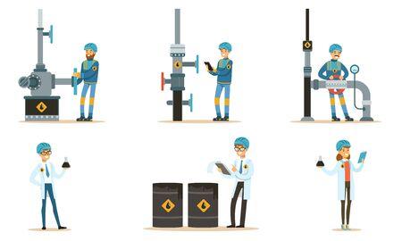 Oilman near the pipeline. Set of illustrations.