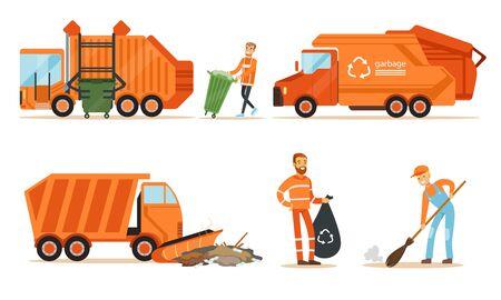 Orange garbage truck and a garbage collector remove garbage. Set of  illustrations. Ilustração