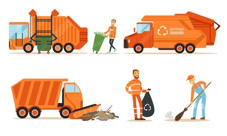 Orange garbage truck and a garbage collector remove garbage. Set of  illustrations. Illustration