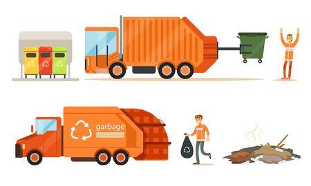 Garbage truck loads garbage. Set of illustrations.