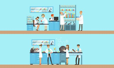 Scientists in the laboratory are conducting an experiment. illustration on a blue background.