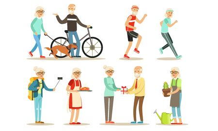 Older people lead an active lifestyle. Set of illustrations.