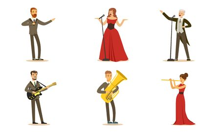 Men and women singers and musicians. Set of illustrations.