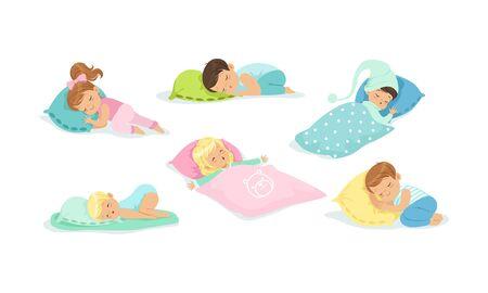 Little Children Sleeping Covered with Blanket Set