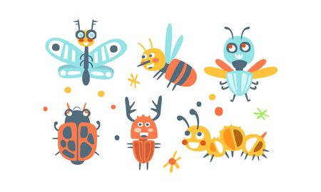 Bugs Set. Funny Cartoon Insects Collection Illustration