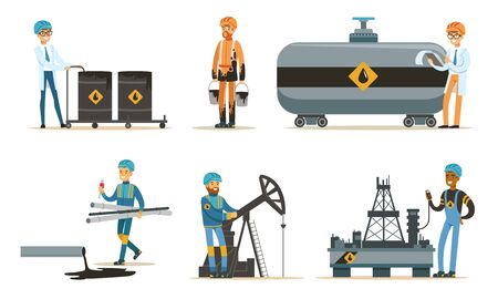 Oil workers in a bathrobe and uniform. Set of illustrations.