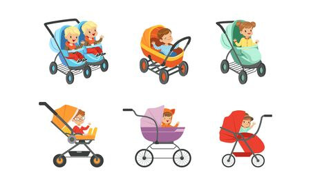 Baby Carriages with Kids Sitting Inside Set