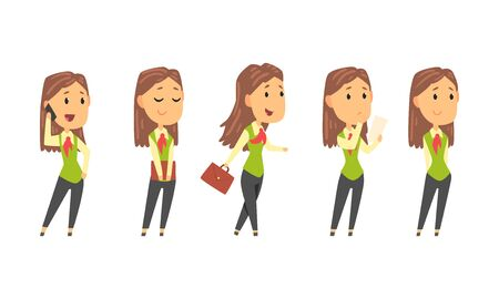 Woman Wearing Office Uniform and Working on Project During the Day Vector Set