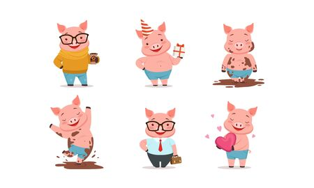 Funny Pigs Characters Drinking Coffee and Holding Gift Box Set 向量圖像