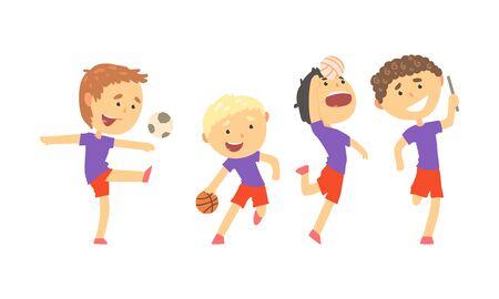 Children Doing Sport Activities Illustrations Set