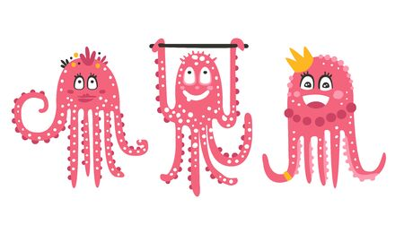 Cartoon cute octopuses. Set of illustrations.