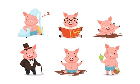 Funny Pigs Characters Sleeping on Pillows and Reading Book Set