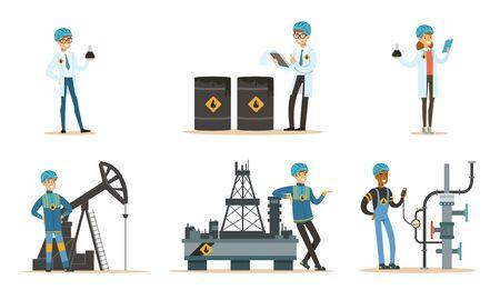Oil industry workers. Set of illustrations. Foto de archivo - 134405542