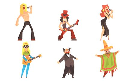 Singers and musicians of different directions. Set of illustrations.