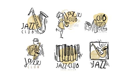 Hand Drawn Labels Vector Set for Jazz Festival or Live Concert 일러스트