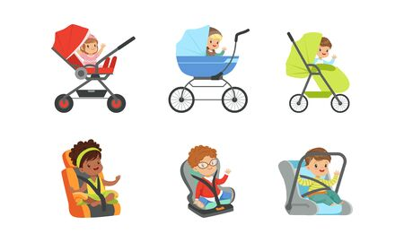 Children Sitting in Baby Carriages and Booster Chairs Waving Hands Vector Illustrations Set. Children Transportation Concept Illustration