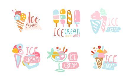 Ice Cream Labels Original Design Vector Set Ilustrace