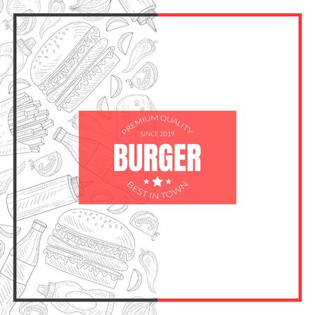 Hand Drawn Fast Food Restaurant Vector Card Template