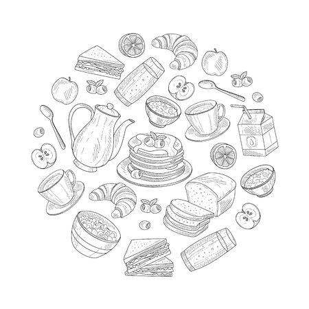 Fresh and Healthy Breakfast Circle Decorative Vector Element