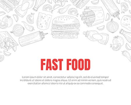 Hand Drawn Fast Food Restaurant Vector Card Template. Sketched Advertisement Poster Design