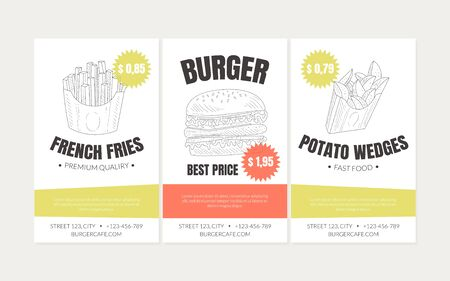 Hand Drawn Fast Food Restaurant Vector Street Flyers Template Foto de archivo - 135097457