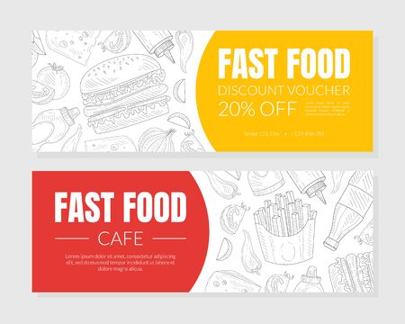 Hand Drawn Fast Food Restaurant Horizontal Vector Discount Vouchers Template. Sketched Advertisement Poster Design